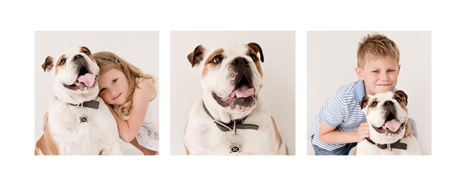 Cuddles in the Christchurch Portraits Studio for 2 children and their much loved pet; Photographer Chirstchurch